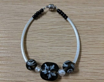 Black & Silver Lamp-work Bracelet