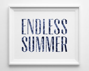 Endless Summer Poster, Indigo Decor, Navy Beach Decor, Surf Art, Shibori Batik Denim, The Endless Summer Print, Palm Print, Navy Surf Decor