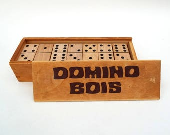 Vintage Wooden Dominoes, Domino Bois, French Box of Wood Dominoes, Wood Game Tiles, Pub and Bar Games, Domino Game Box