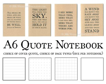 Typography Notebook - Literary Quotation | Recycled Kraft Journal, Eco Friendly Gift for Writer | A6 Stationery for Book Nerd, Notebook Nerd