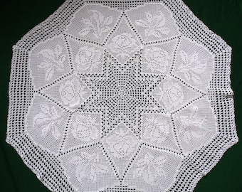 Vintage white floral Crochet Round tablecloth crocheted table topper , roses pattern
