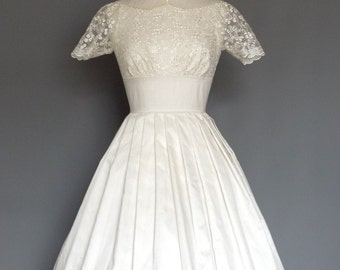 Ivory Silk & Lace Boat Neck Collar Wedding Dress- Made by Dig For Victory
