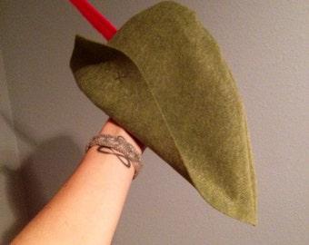 Feathered Felt Robin Hood Peter Pan Hat
