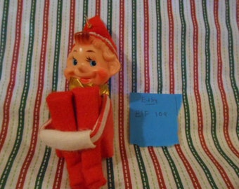 Knee Hugging Blue Eyed Christmas Elf Ornament - Vintage  - #109