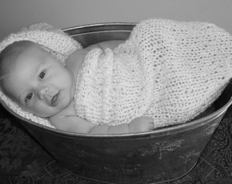 TWO PATTERNS IN ONE-- Baby Cocoon and Pod Knitting Pattern PDF in Plain English -- PERMISSION IS GRANTED TO SELL WHAT YOU KNIT -- Pattern for egg is also included... FREE SHIPPING