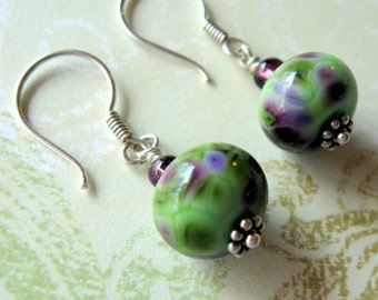 Green and Purple Lampwork Sterling Silver Earrings