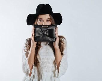 Bow clutch, Black Clutch purse, Evening purse, Leather clutch bag
