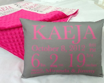 New Baby Gift Set- personalized birth announcement pillow and Name-Me Minky Blanket baby blanket baby pillow shower gift new baby