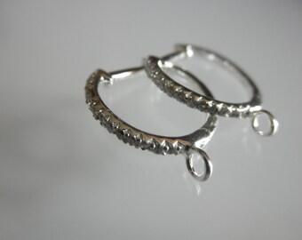 SALE - CZ hoop earrings lever back