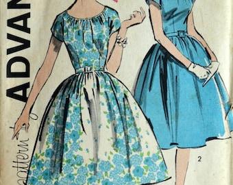 Uncut 1950s Advance Vintage Sewing Pattern 9678, Size 10; Misses' Dress