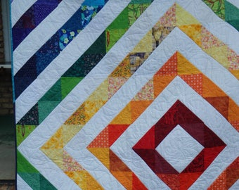 rainbow quilt, diamond quilt, twin size quilt, modern quilt