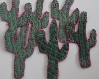 ornaments Cactus Vintage cutter quilt green embellished embroidered fabric cactus folk art fun decor tree trimmers
