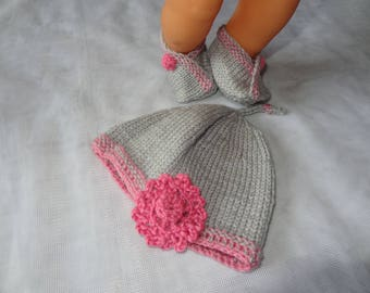 Pink and gray with flower hat and booties