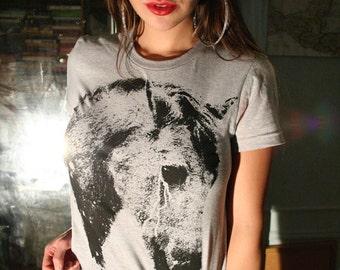womens t-shirt, horse t shirt, womens horse tee, 1AEON heather gray tee w black horse  S-XL