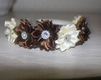 Toddler Flower Headband Brown and Cream with Rhinestone Centers
