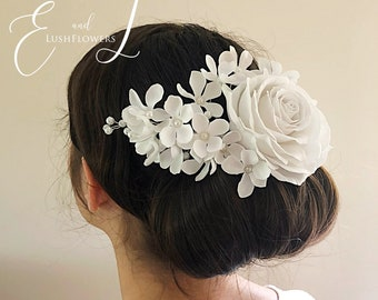 Rose hair comb Bridal hair piece Wedding hair accessory White flower comb Apple blossom floral headpiece White rose bridal hair comb