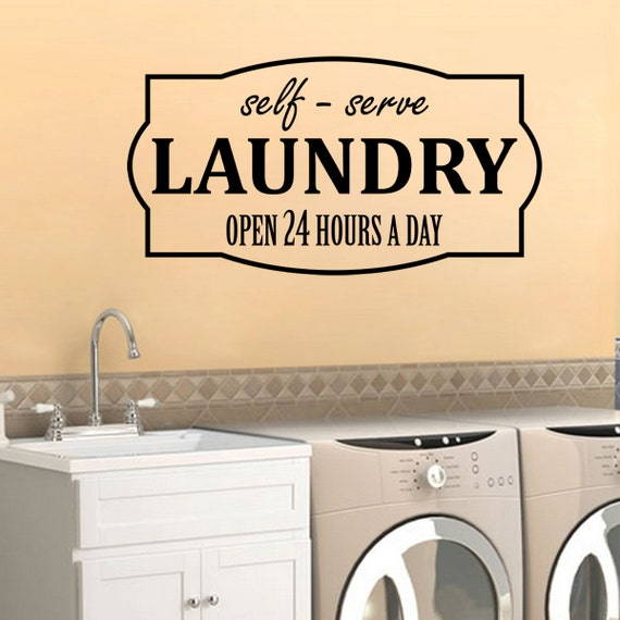 Laundry Decal Self-Serve Open 24 Hours Wall Vinyl Sticker