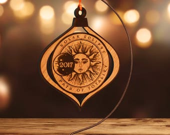 Solar Eclipse 2017 Commemorative Ornament, Laser Cut Hardwood