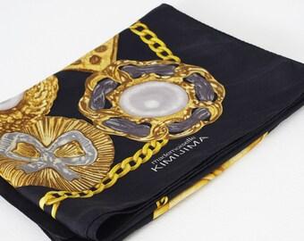 Kimijima 1980s Vintage Large Silk Gold Rose Chain Black Designer Signed Scarf
