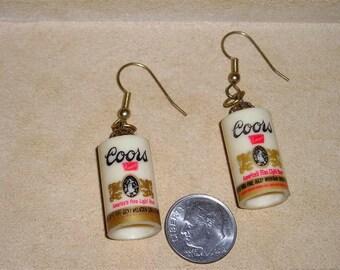 Vintage Little Coors Beer Can Pierced Earrings 1970's Jewelry B9