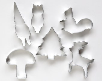 Woodland Cookie Cutter Set, Woodland Animals Cookie Cutters, Forest Animal Cookie Cutters, Woodland Baby Shower Cutters (Set of 6)