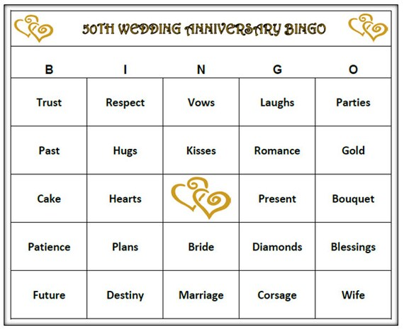 50th Anniversary Party Bingo Game 60 Cards Golden