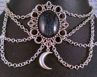 Handpainted black white speckle stone and silver moon chain choker necklace gothic victorian