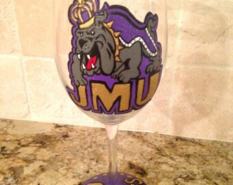 Hand-painted college wine glass