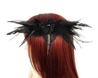 Gothic headpiece with feathers and beads