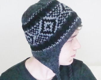 Knit Mens Hat Men's Winter Hat with Earflap in Grey, Black Hand Knitted Men Hat, Mens Gift for Him