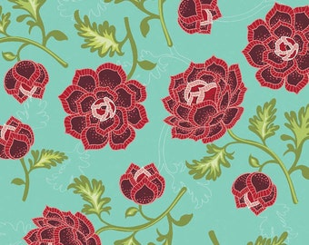 LOW STOCK - La Vie Boheme - Main Teal - Riley Blake - The Quilted Fish - Teal Floral - Cotton Fabric- C4740 - Maroon Floral Fabric