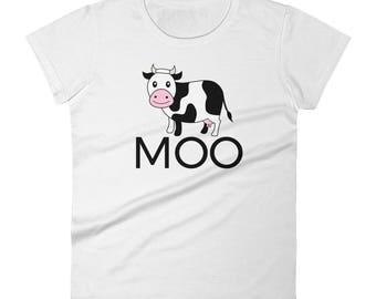 Women's short sleeve t-shirt, Cow t shirt, Moo Cow t-shirt