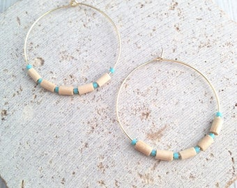 Hoop Earring,Boho Hoop Earring,Wood Bead Earring,Wood Beaded Hoop,Beaded Hoop Earring,Tribal Hoop Earring,Boho Dangle Earring