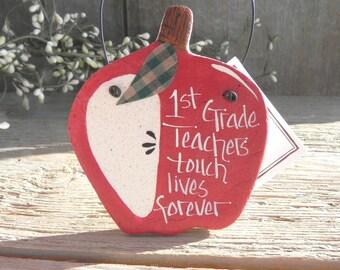 1st First Grade Teacher Gift Salt Dough Ornament