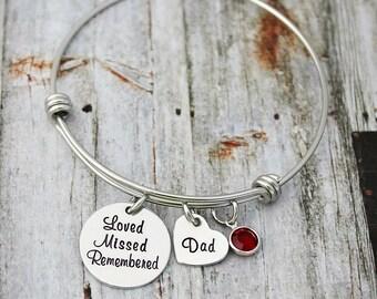 Personalized Bangle - Charm Bracelet - Memorial Bracelet - Memory Of Dad-Mom-Sister-Friend - Sympathy Gift - Loved Missed Remembered