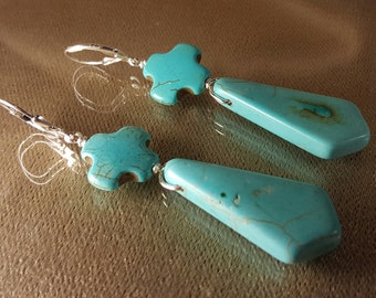 Sale! Faith .925 Sterling Silver - Lever Back -Turquoise Blue Magnesite - Earrings - By Carbon Arc Adornments - UPC 700153944090