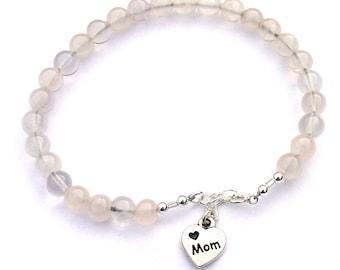 Bracelet Quartz rose pour les femmes maman cadeau de fête des mères