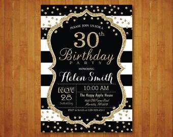 30th Birthday Invitation for women. Surprise 30th Birthday. Black and Gold Glitter. Black Stripes. Confetti. Any age. Printable Digital.