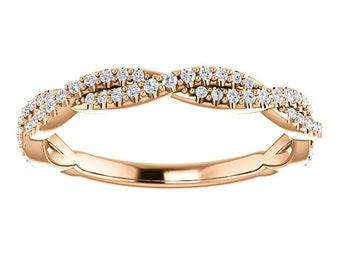14K Gold Diamond Wedding or Anniversary Band