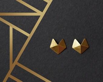 18k Gold Plated Silver Earrings, 18k Gold Plated Geometric Earrings, Facet Gold Earrings, Minimalist Gold Earrings, Statement Gold Earrings