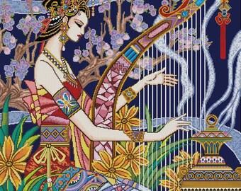 Oriental Lady of Music -Cross Stitch Pdf Pattern
