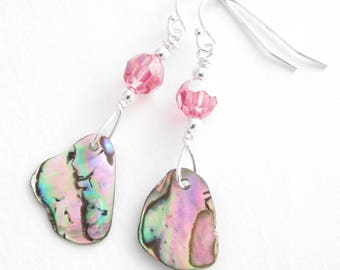 Pink Paua Shell Earrings, Rose Crystal & Abalone Earrings, Natural Seashell Jewelry