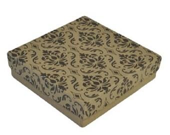 "50 Damask Print Kraft 3 1/2"" X 3 1/2"" Cotton Filled Jewelry Gift Boxes"