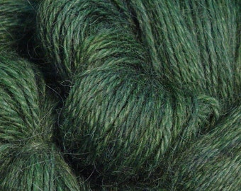 Hand Dyed Alpaca Yarn in Forest Green - Finger Wt - 250 yds