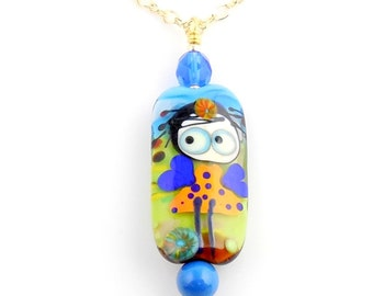 Multicolor Garden Fairy Lampwork Art Glass Pendant Necklace, Glass Bead Necklace, Fashion Jewelry, Gifts, Mothers Day