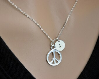 Engraved Initial Peace Necklace, Peace Symbol Necklace, Peace Sign Necklace, Silver Peace Necklace, Sterling Silver