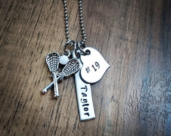 Hand Stamped Personalized Lacrosse Necklace - Girls Lacrosse Gift - LAX Team Gift - Lacrosse Gifts - Lacrosse Senior Gift