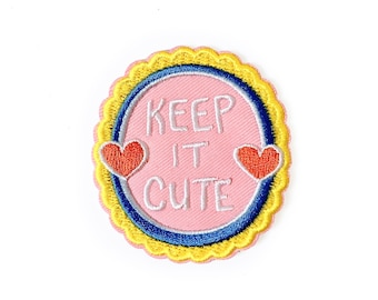 Keep It Cute Patch || iron on patch, patches for jackets, patches for bags, embroidered patch, words to live by, heart patch, pink patch