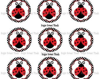 INSTANT DOWNLOAD Fancy Ladybug  Digital  1 inch Circle Bottlecap Images 4x6 sheet