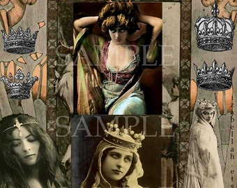 Instant Digital Download Collage Sheet Victorian Princess Crown Mixed Media Paper ARt Gothic Edwardian Gypsy Witch Princess Boho Crowns